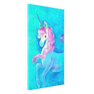 Unicornio blanco feliz lona envuelta para galerias