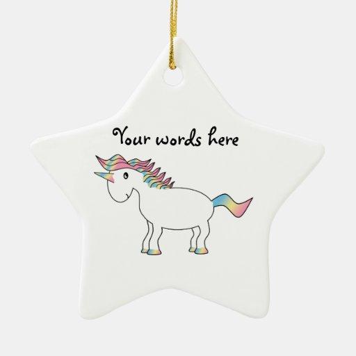 Unicornio blanco lindo del arco iris adorno navideño de cerámica en forma de estrella