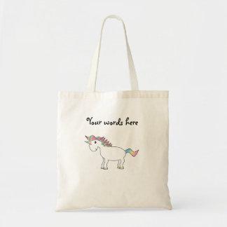 Unicornio blanco lindo del arco iris bolsas