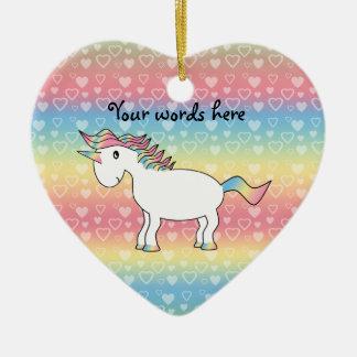Unicornio blanco lindo del arco iris adorno de cerámica en forma de corazón