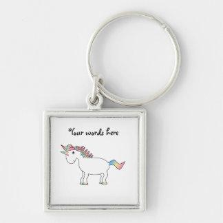 Unicornio blanco lindo del arco iris llavero cuadrado plateado
