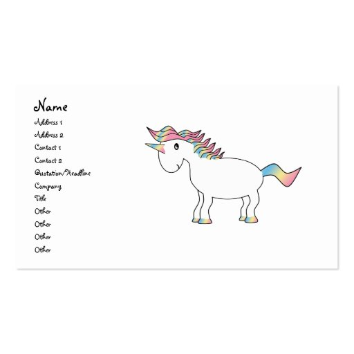 Unicornio blanco lindo del arco iris tarjeta de negocio