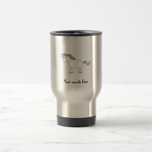 Unicornio blanco lindo del arco iris tazas de café