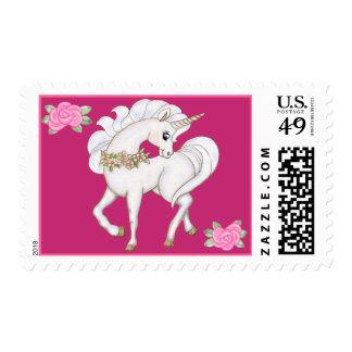 Unicornio blanco timbre postal