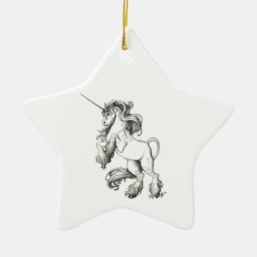 Unicornio blanco y negro adorno navideño de cerámica en forma de estrella