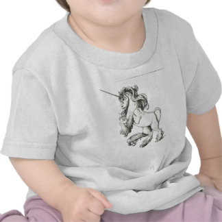Unicornio blanco y negro camisetas