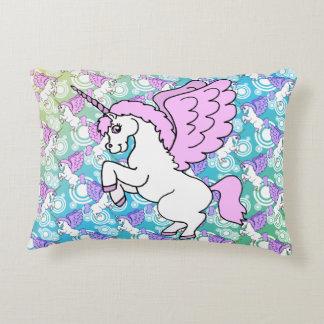 Unicornio blanco y rosado cojín decorativo