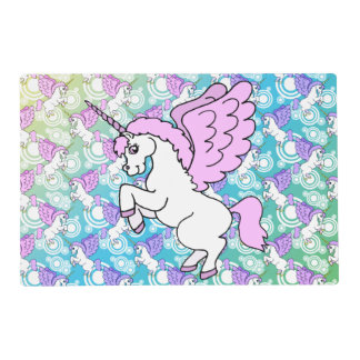 Unicornio blanco y rosado tapete individual