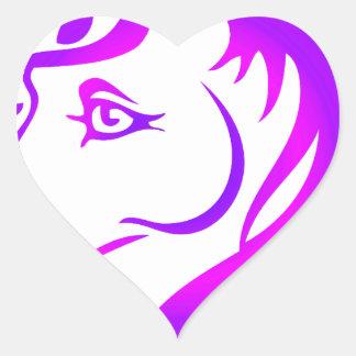 Unicornio bonito pegatina en forma de corazón