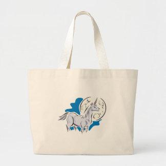 unicornio bonito y Luna Llena Bolsas De Mano