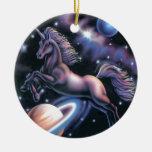 Unicornio celestial adorno redondo de cerámica