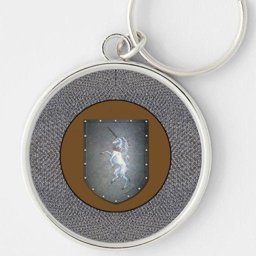 Unicornio Chainmail del escudo del metal Llavero