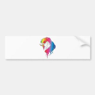 unicornio color de rosa del arco iris etiqueta de parachoque