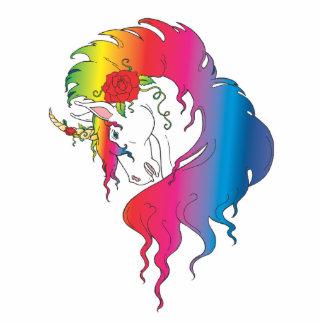 unicornio color de rosa del arco iris fotoescultura vertical