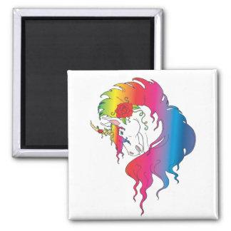 unicornio color de rosa del arco iris imán de frigorífico