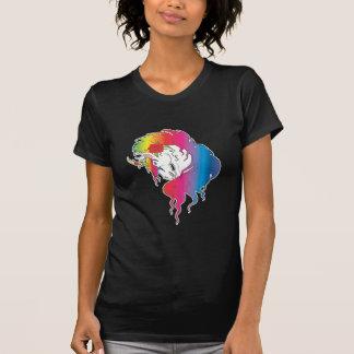 unicornio color de rosa del arco iris playera