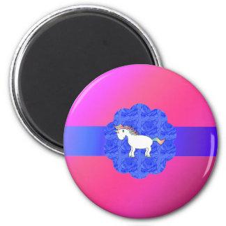 Unicornio color de rosa imán redondo 5 cm