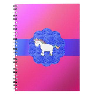 Unicornio color de rosa spiral notebooks