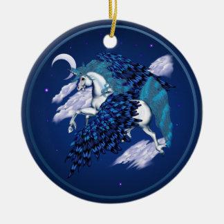 Unicornio con alas - ornamentos adorno redondo de cerámica