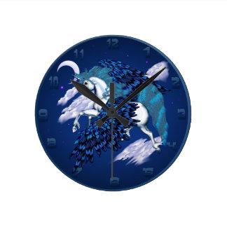 Unicornio con alas Wallclock Reloj Redondo Mediano