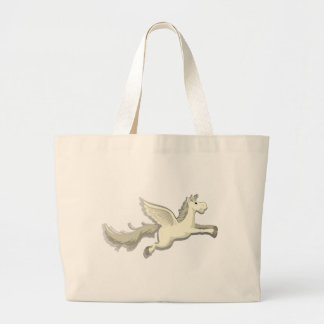 Unicornio con el vuelo feliz de la cara bolsa tela grande