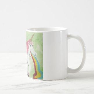 Unicornio con la gripe de estómago taza básica blanca