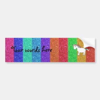Unicornio con las rayas del brillo del arco iris pegatina de parachoque