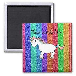 Unicornio con las rayas del brillo del arco iris imán cuadrado