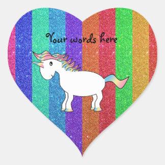 Unicornio con las rayas del brillo del arco iris pegatinas corazon personalizadas