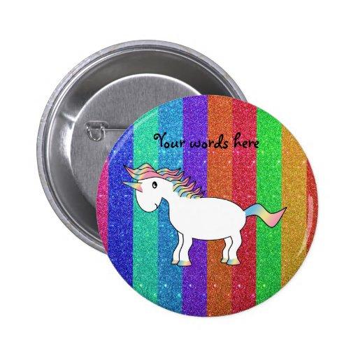 Unicornio con las rayas del brillo del arco iris pin redondo 5 cm