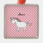 Unicornio conocido personalizado del arco iris ornaments para arbol de navidad