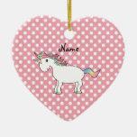 Unicornio conocido personalizado del arco iris adorno de navidad