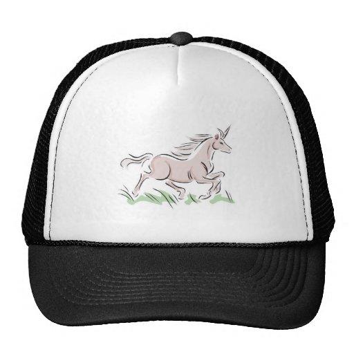 unicornio corriente del rosa salvaje gorros bordados