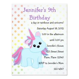 """Unicornio Cutie de los azules cielos Invitación 4.25"""" X 5.5"""""""