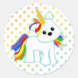 Unicornio Cutie del arco iris Etiquetas Redondas