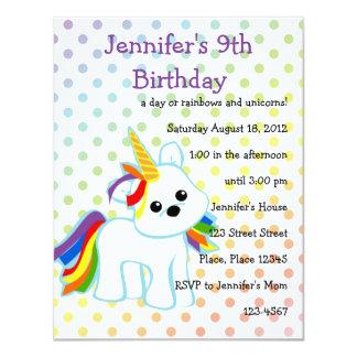 """Unicornio Cutie del arco iris Invitación 4.25"""" X 5.5"""""""