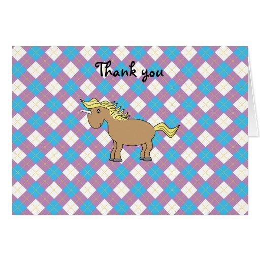 Unicornio de Brown en fondo púrpura y azul del arg Tarjeta