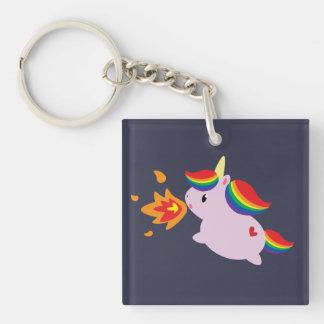 Unicornio de Fuego-Respiración Llavero Cuadrado Acrílico A Una Cara