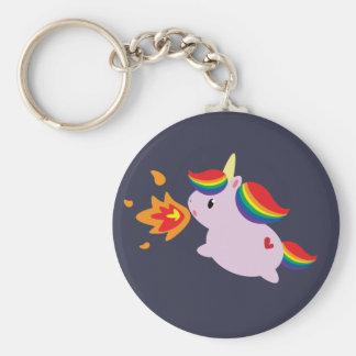 Unicornio de Fuego-Respiración Llavero Redondo Tipo Pin