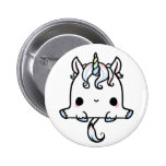 Unicornio de Kawaii (usted cambia el fondo!) Pin Redondo 5 Cm