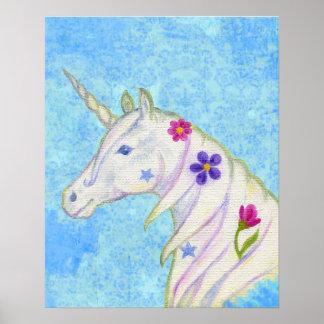 Unicornio de la flor en la impresión azul del arte póster