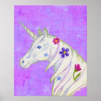 Unicornio de la flor en la impresión púrpura del póster