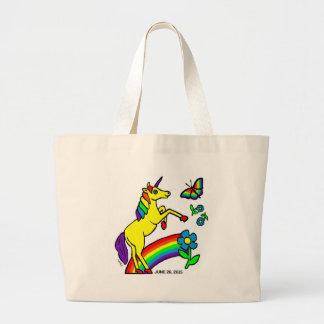 Unicornio de la igualdad del arco iris bolsa tela grande