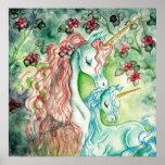 Unicornio de la madre y del bebé póster