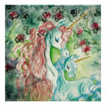 Unicornio de la madre y del bebé posters