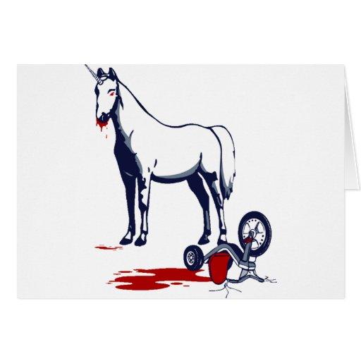 Unicornio de la muerte tarjeta de felicitación