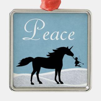 Unicornio de la paz y ornamento de la silueta de ornamentos de reyes magos