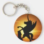 Unicornio de la puesta del sol llaveros personalizados