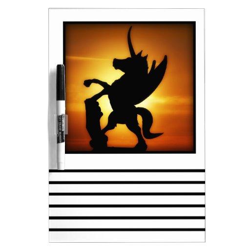 Unicornio de la puesta del sol pizarra