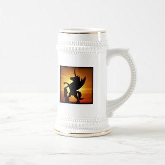 Unicornio de la puesta del sol taza de café
